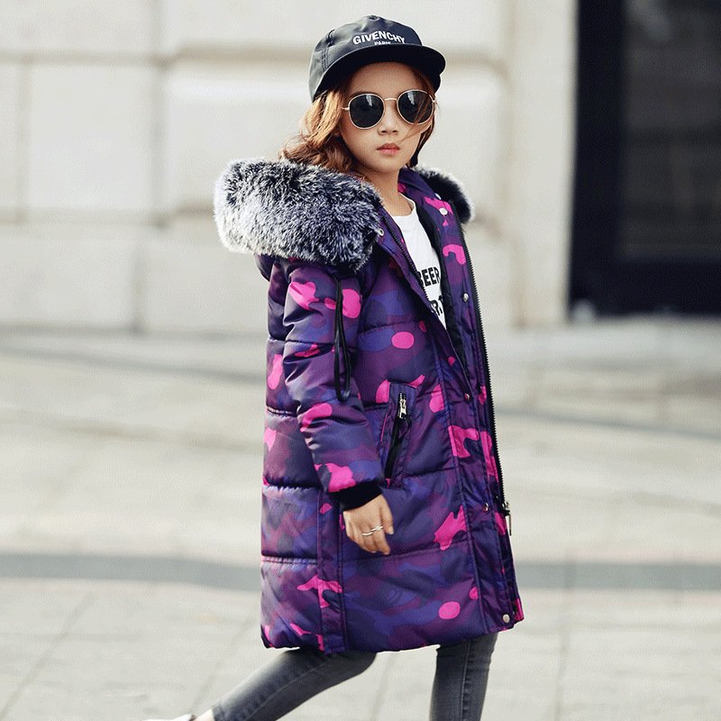 girl winter warm long-sleeved Parka thick cotton  Children's winter coat long  kids plus long jacket 3-8 years old winter jacket women cotton coat female faux suede long lambs wool parka thick winter coat warm jacket fashion outwear coat c3485