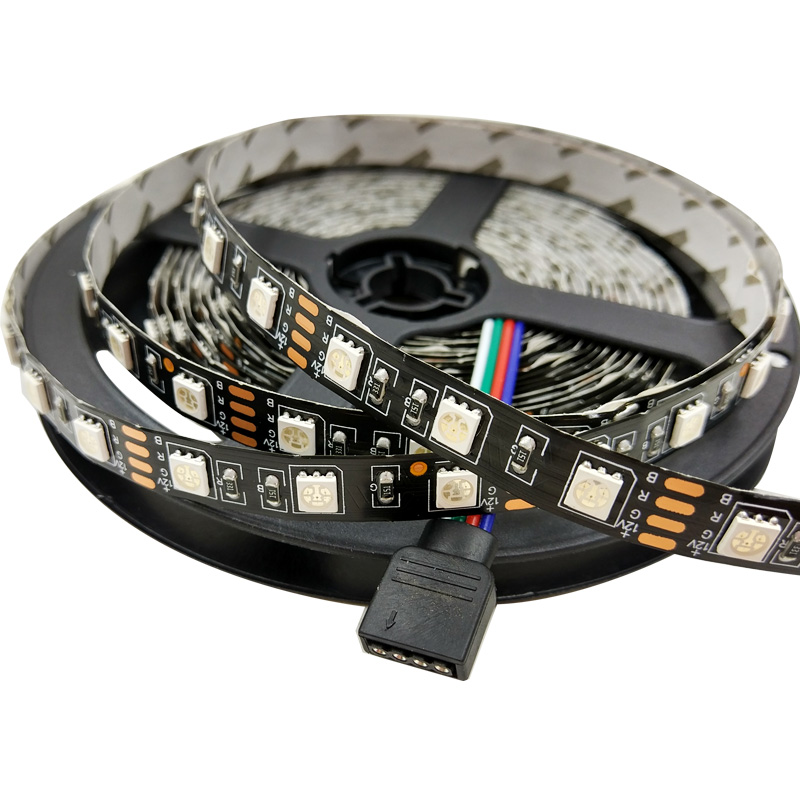 SMD 5050 RGB LED Strip DC 12V Black PCB Strip 5M 300LED RGB LED Light Strips Flexible with 3A Power Adapter and RF Touch Control