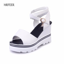 hot deal buy hrfeer summer women sandals for girls wedge heel shoes fashion lightweight thick bottom sandal womens shoes