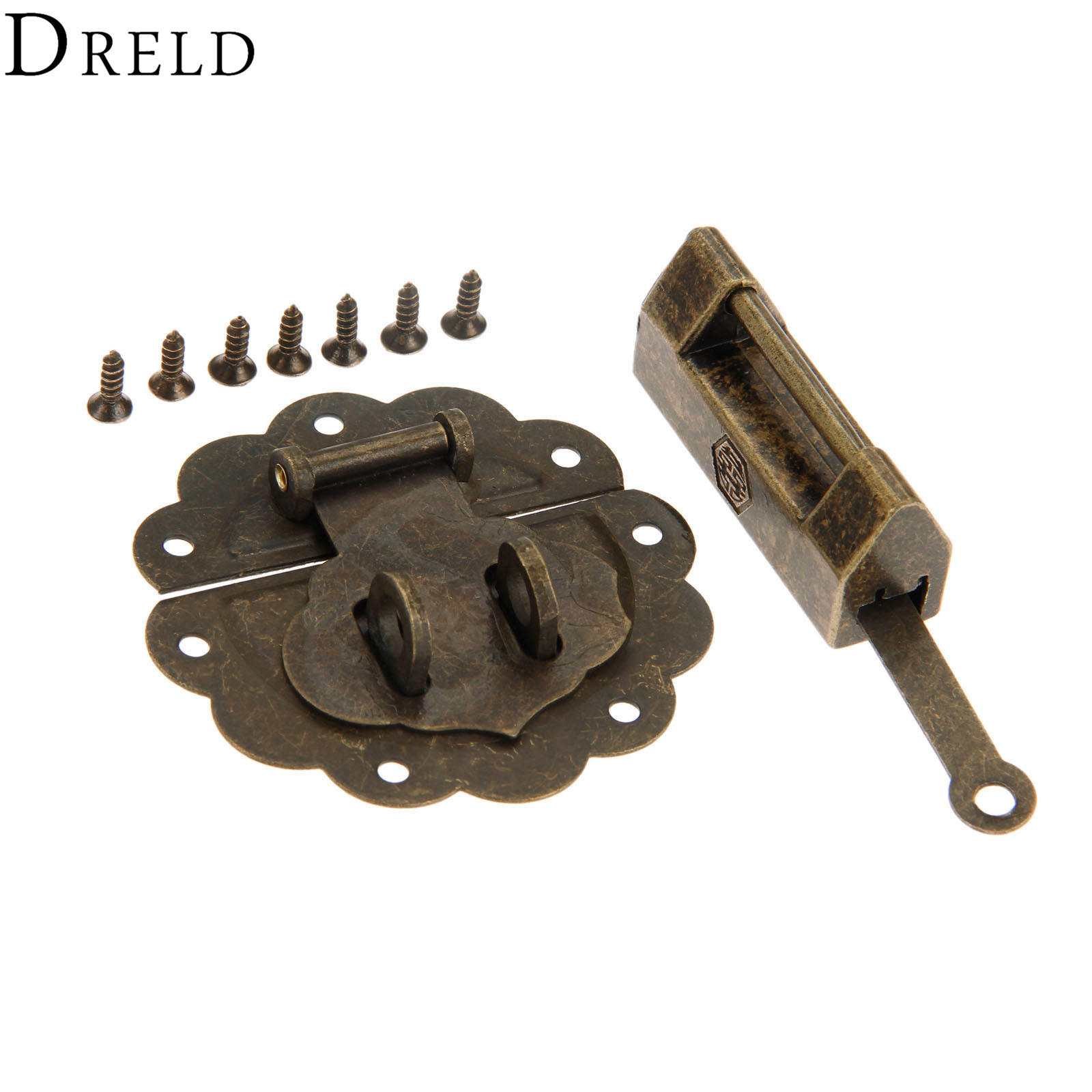 Dreld Antique Bronze Chinese Old Lock/padlock And Box Latch Hasp Buckle Clasp For Cabinet Jewelry Wooden Box Furniture Hardware 50% OFF Home Improvement Locks