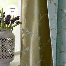 Зеленый лист вышитые шторы для гостиной римские жалюзи Цветочные гладкие изоляционные шторы для спальни оконные панели
