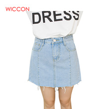ФОТО wiccon summer solid a line mini skirt casual blue denim skirts womens preppy style students faldas mujer moda 2018 jeans skirt