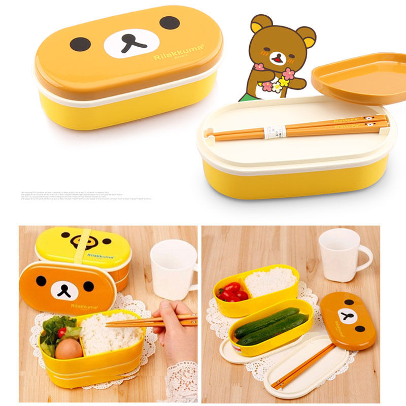 Dinnerware Free Shippng Brown Microwave Rilakkuma Bento Yellow Microwave Nostrils Chickens Multilayer Children Lunch Box With Chopsticks