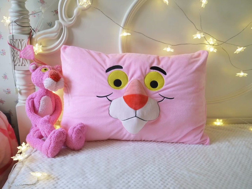 GGS Super Cute Leopard Pink Panther Plush Toy pillow case Stuffed Animal Leopard Doll Birthday Gift for Kids Love Present