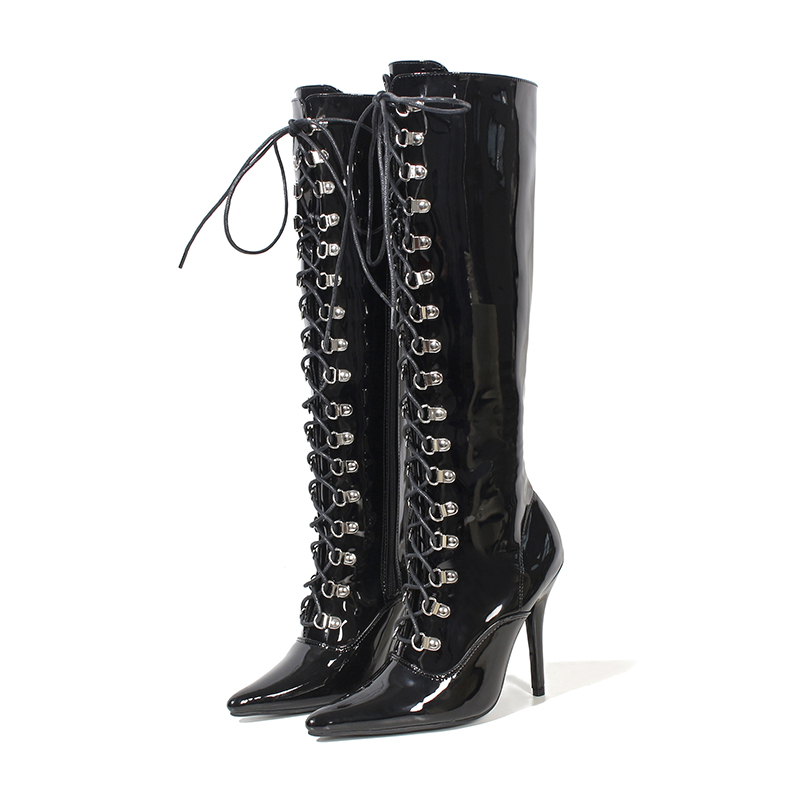 Boots Women Shoes High Heels Mid Calf Boots Glossy Leather Lace Up Fashion Fenty Beauty Zipper Gothic Shoes Ladies Winter Boots Boots Women Shoes High Heels Mid Calf Boots Glossy Leather Lace Up Fashion Fenty Beauty Zipper Gothic Shoes Ladies Winter Boots