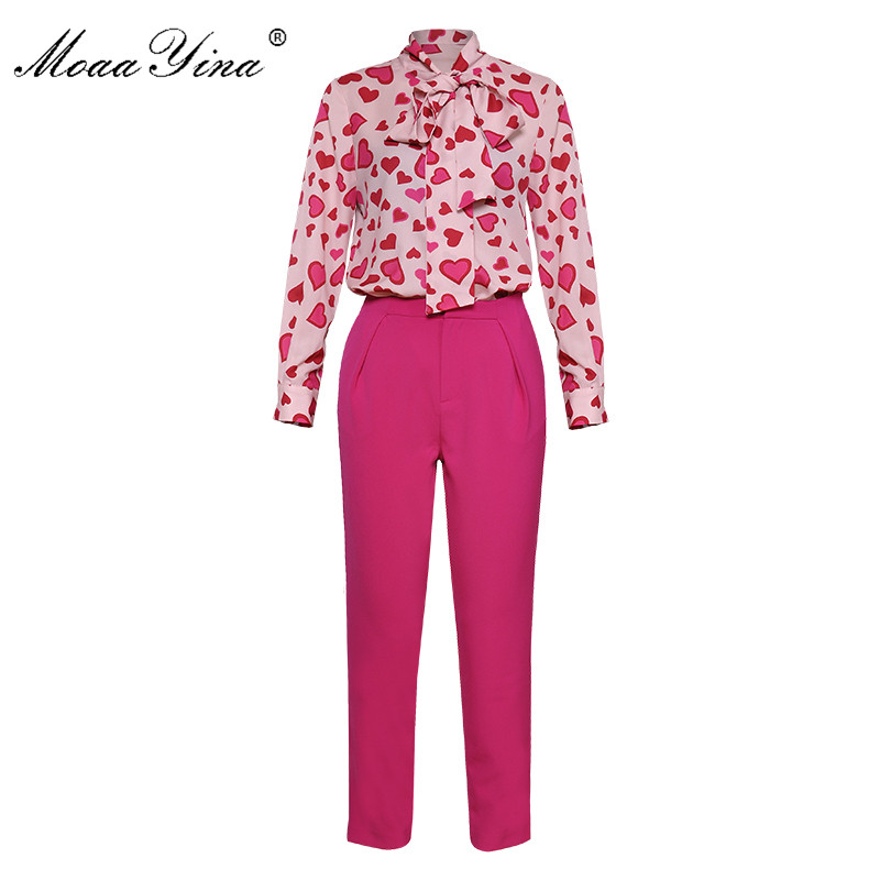 MoaaYina Fashion Set Spring Women Bow collar Heart shaped Print Elegant Shirt Tops 3 4 Flared