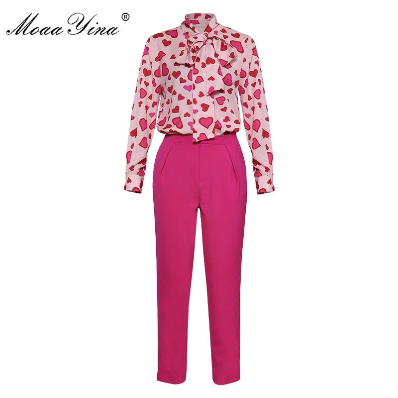 Kadın Giyim'ten Kadın Setleri'de MoaaYina Moda Seti Bahar Kadın Yay yaka Kalp şeklinde Baskı Zarif Gömlek Tops + 3/4 Flared kalem pantolon Iki parça set'da  Grup 1