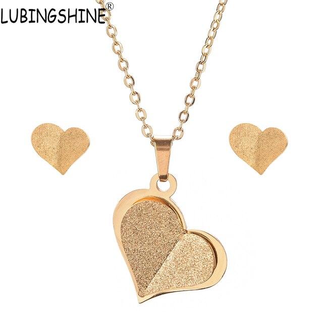 LUBINGSHINE נירוסטה תכשיטי סט מסיבת חתונת זהב צבע לב פרפר בני בנות שרשרת עגילי סטים לאישה
