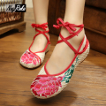 Hot sale Casual Lotus embroidery shoes women fashion women's flats shoes summer soft sandals for ladies dance shoes