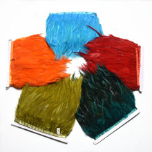 1Meter natural rooster feather trims sewing  8-10cm saddles fringe white for costumes DIY ribbon