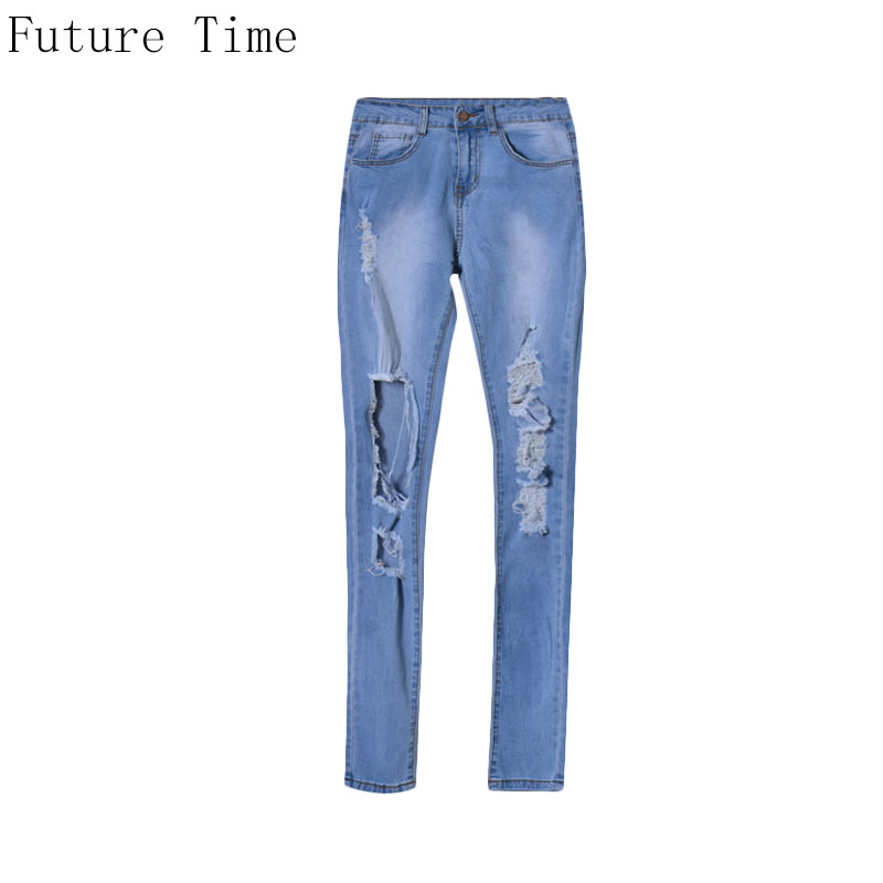 2017 Autumn Women Jeans Irregular Hole Ripped Slim  Elastic High Waist Washed Pencil Pants Long Pants Big Size Trousers NZ246