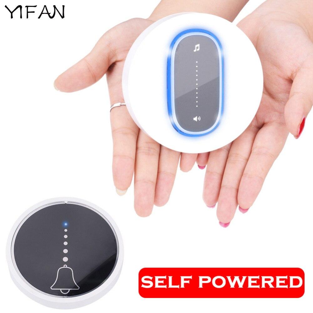 YIFAN self powered Waterproof Wireless DoorBell night light no battery EU plug home Cordless Door Bell 1 2 button 1 2 Receiver 1