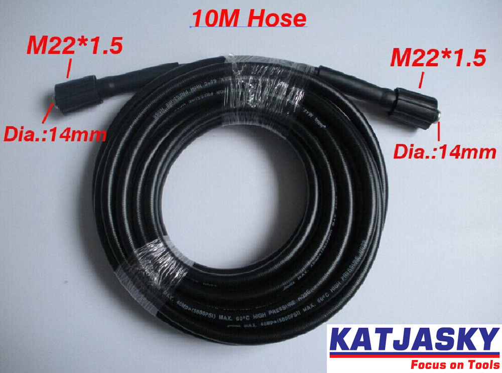 Car washer hose 10m 32.8' 400Bar 5800PSI,two ends are M22*1.5*14mm , high pressure washer hose spray water 7 5m car washer hose with gun 40mpa 5800psi high pressure washer hose