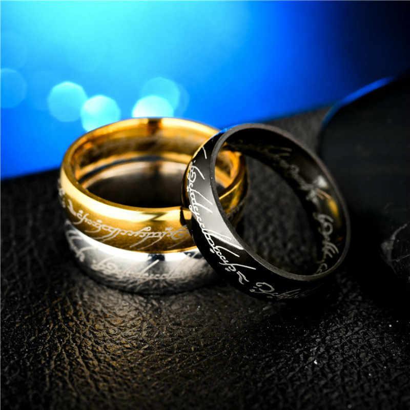6mm נירוסטה טיטניום פלדת קסם רונה טבעות לנשים גברים שחור זהב כסף צבע אישיות פשוט תכשיטי אבזרים