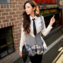 Original New 2016 Brand Autumn and Winter Gray Plus Size Slim Vintage Women Woolen Lantern Bloomers Rompers Wholesale