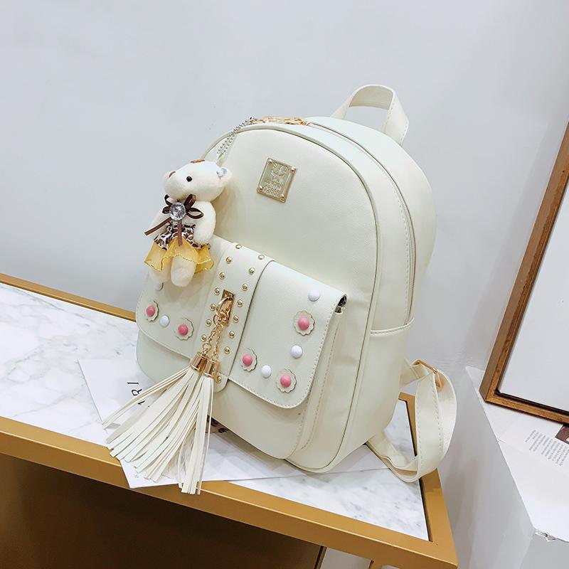 Backpack Female 3 Piece Combination Composite Bag Bear Hanging Inlaid Imitation Diamond Tassel Fashion Casual Shoulder Bag 50