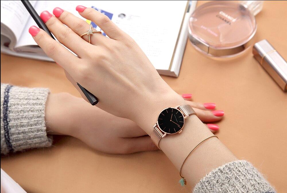 dw estilo mulher relógios aço inoxidável malha