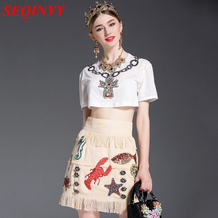Fashion Embroidery Skirt Set 2017 Summer Sexy Cool White Beading O-Neck Short Top + Linen Sequined Animals Tassel Mini Skirt