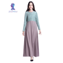 Women Long sleeve Lace Dress Maxi Abaya Robe Kaftan Clothing