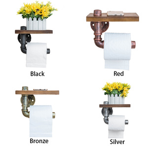Image 3 - Hotel Wooden Shelf Bathroom Hanging Rack Home Roll Paper Holder Kitchen Wall Mounted Industrial Style Phone Storage Retro Toilet