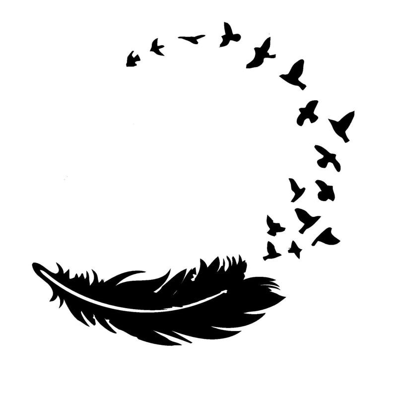 14см*14см птицы перо Декор мода автомобиля-стайлинг автомобиля винила стикера черный/серебристый С3-5714