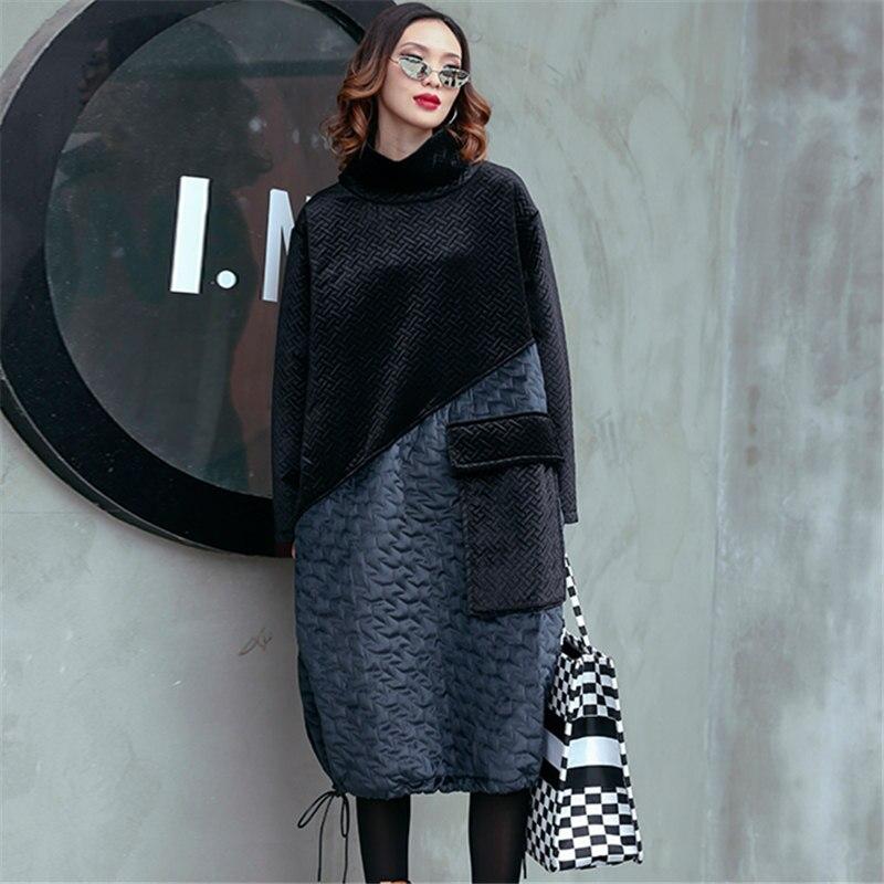 Lâche Pull Black Hiver Robe Lumineux Longues Automne Noir Plus Poche Velours Couture Femmes Robes Taille Nouveau Coréenne Femme 1w6Cq4P