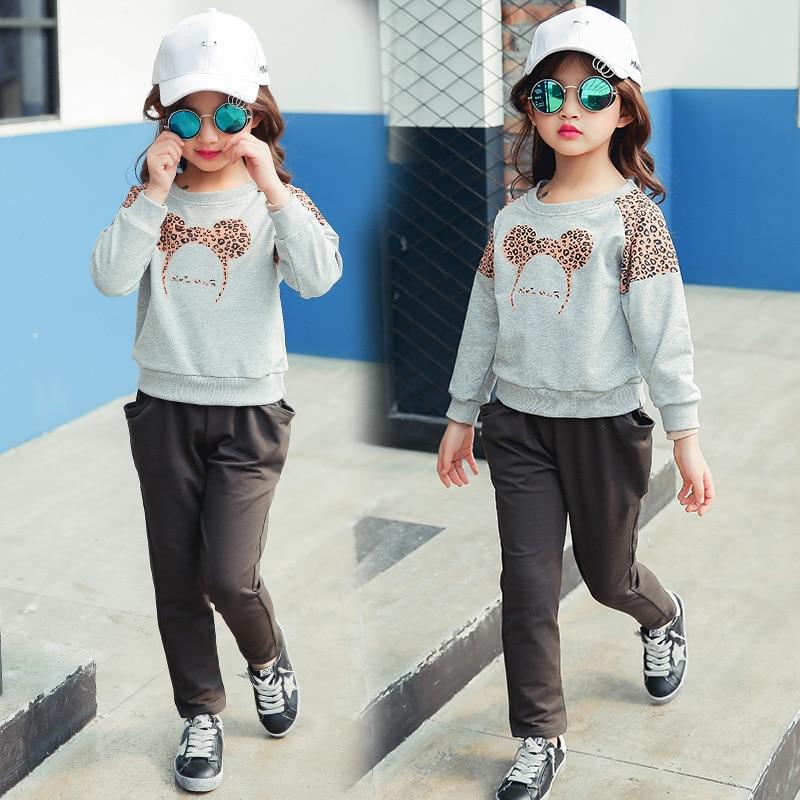 ФОТО Kids girls spring / autumn 2 pcs set 2017 new baby girls' clothing fashion leopard shirt suit 4/5/6/7/8/9/10/11/12/13