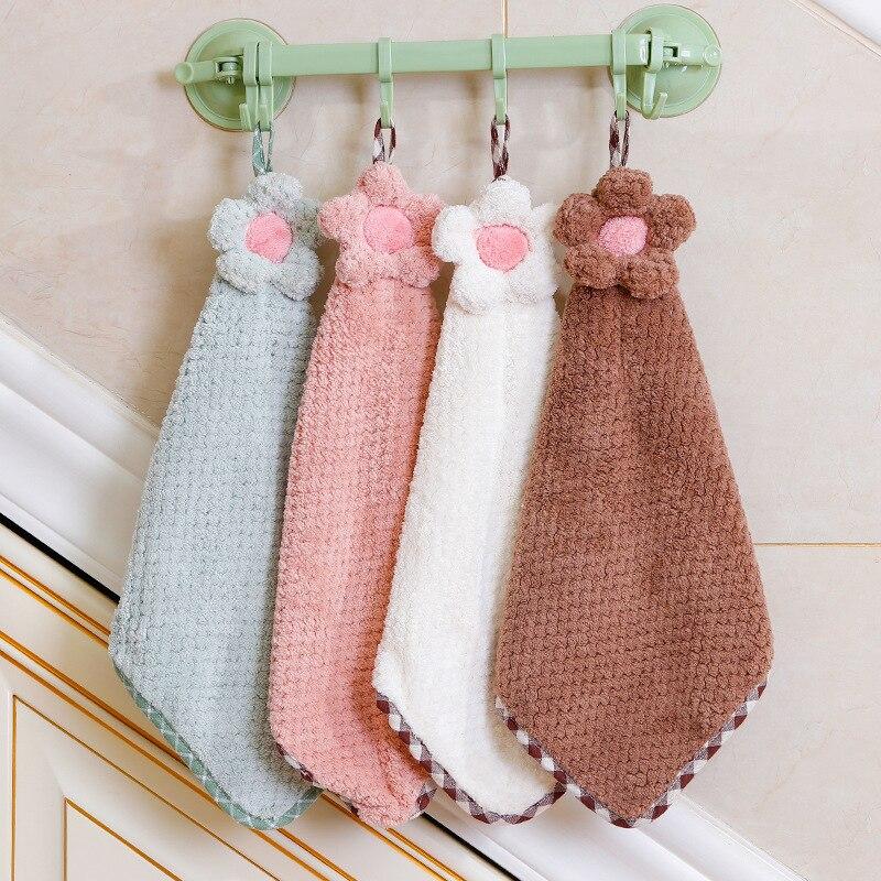 New Cute Flower Children Towels Hanging Coral Fleece Hand Towel Baby Toddler Soft Wipe Bathing Towel For Kids Bathroom 4 Colors