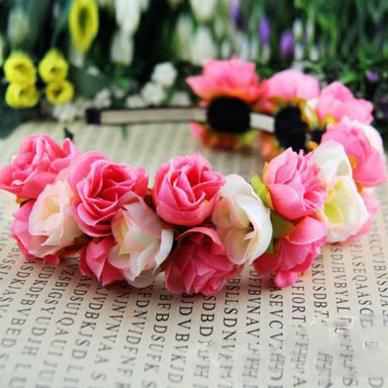Wedding Multi-color Double Row Floral Hairband Fabric Rose Flower Crown S72 Spare No Cost At Any Cost