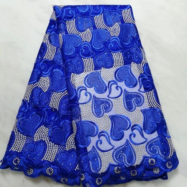 5 Yards/pc offre spéciale bleu royal français net dentelle motif coeur broderie avec pierre africaine maille dentelle tissu pour robe BN128-8