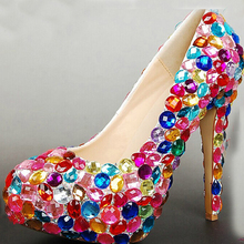 2016 Nightclub Shoes Graduation Prom Shoes Spring Formal Dress Shoes Diamond Wedding Shoes for Bride Gorgeous 5 Inches High Heel
