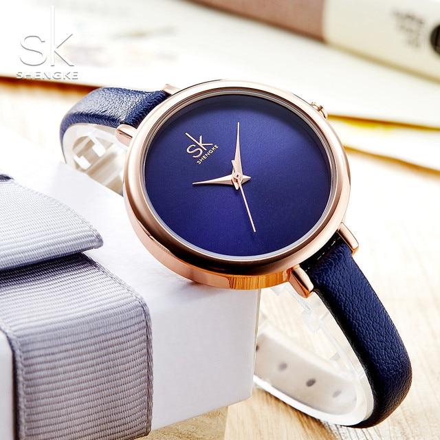 Shengke Watches Women Elegant Slim Quartz Watch Fashion Blue Leather Brand Watch  Ladies Business Wristwatch Montre 335bae4c46