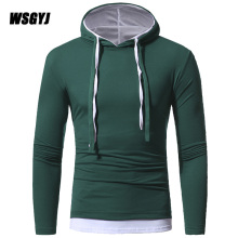 Men'S T-Shirts 2017 New Cotton T-Shirts Men'S Long Sleeve Hip Hop Hooded Fake Two Pieces Tight T Shirt Slim Male Tops XXXL Y765