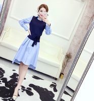 2017 Novas Mulheres vestido de Tricô Empresa Oferece Longa + Pequeno Roupa Vestidos de Luz Azul Branco E Preto Colete 1864