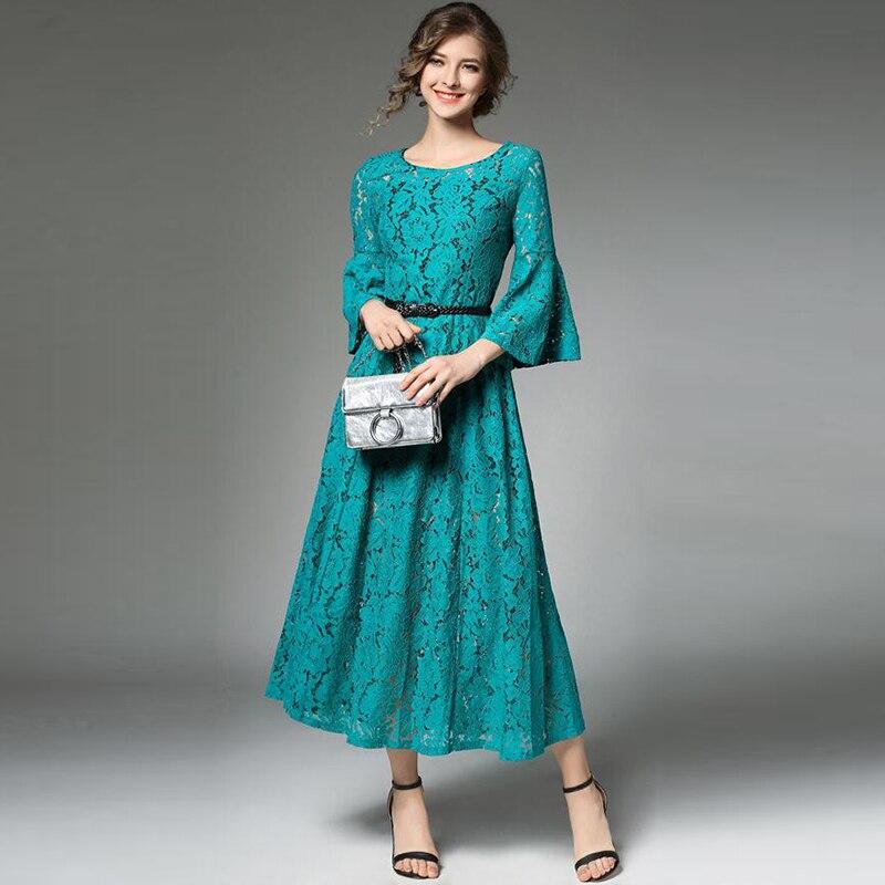 Elegant Green Lace Crochet Party Dress Women Hollow Out Flare Sleeve High Waist Long Dresses Runway Vestidos with Belt