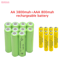 10 pcs AA 3800mAh Ni-MH Rechargeable Batteries + AAA 800mAh