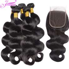 цена на Body Wave Bundles with Closure Peruvian Hair Bundles With 4*4 lace Closure Human Hair Weave Bundles with Lace Closure 4pcs
