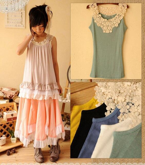 2041ac41ab Japoński styl mori koronki patchwork podstawowe camis zbiorniki kobiet  dorywczo koszula bawełniana lolita cawaii mori dziewczyna