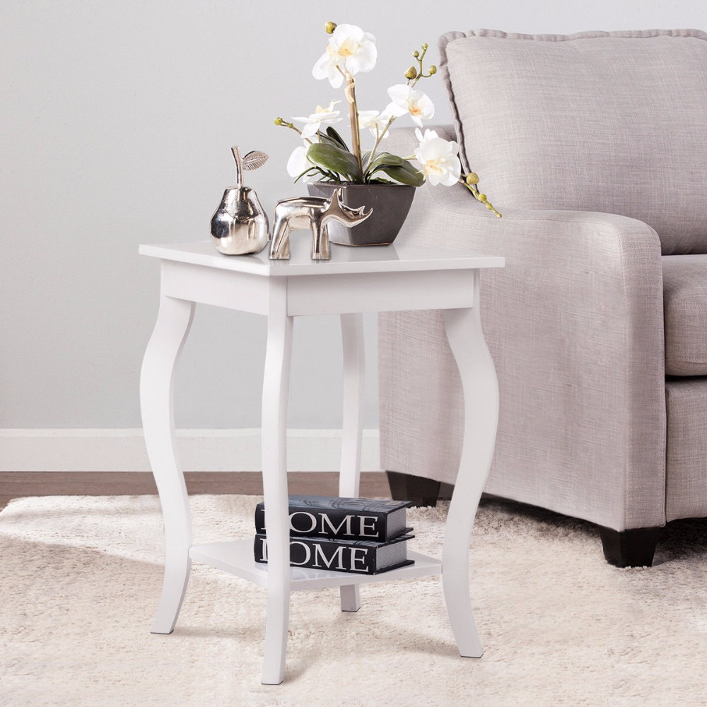 Modern white end table for bedroom living room borkut for White end tables for living room