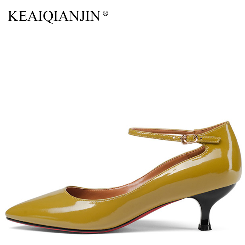 KEAIQIANJIN Woman Pointed Toe Mary Janes Black Plus Size 33 - 43 Sexy High Heels Shoes Spring Genuine Leather Wedding Pumps keaiqianjin woman wedges shoes shallow pointed toe red wedding pumps spring autumn genuine leather ultra high heels shoes 2018