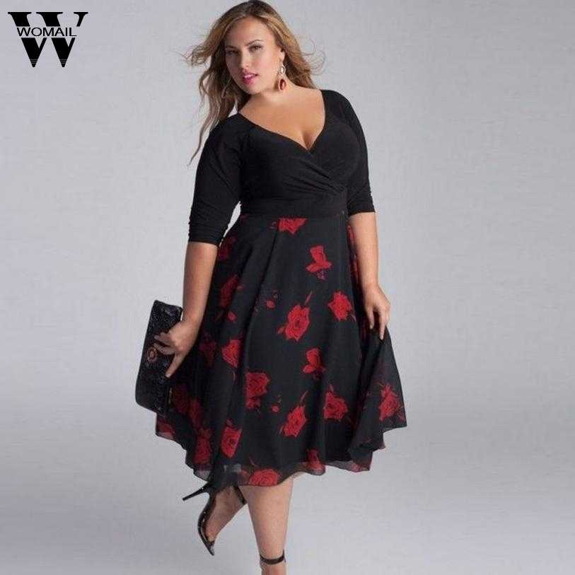 2017 Women Plus Size Sexy V-Neck Floral Maxi Evening Party Boho Beach Dress July 4