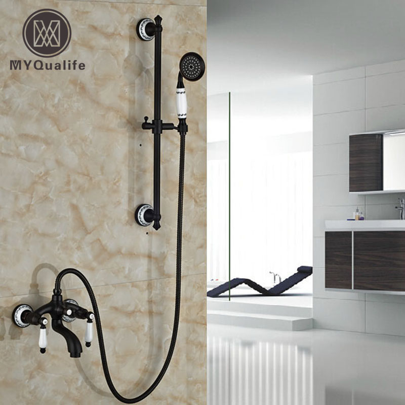 Oil Rubbed Bronze Wall Mount Dual Handle Bath Shower Mixer Faucet with Slide Bar Brass Handshower Sprayer