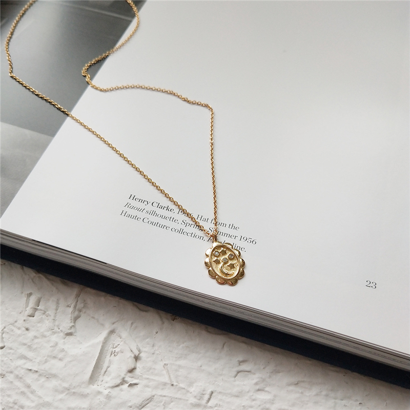 2019 Charm Gold Color Moon Star Pendant Necklaces 925 Sterling Sliver Oval Coin Crystal Choker Necklace Women Layered Choker