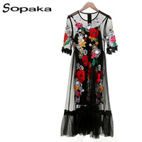 SOPAKA High Quality Runway Embroidery Flower Women Dress 2017 Summer Black Mesh A Line Vintage Dresses