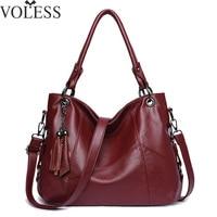 VOLESS Sheepskin Women Handbag Retro Tassel Genuine Leather Women Shoulder Bags Large Capacity Casual Tote Women