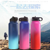 2018 NEW 7 colors Colorful Insulated Stainless Steel Water Bottles 18OZ/32OZ/40OZ Wide Mouth with Vacuum flask Sport Lids