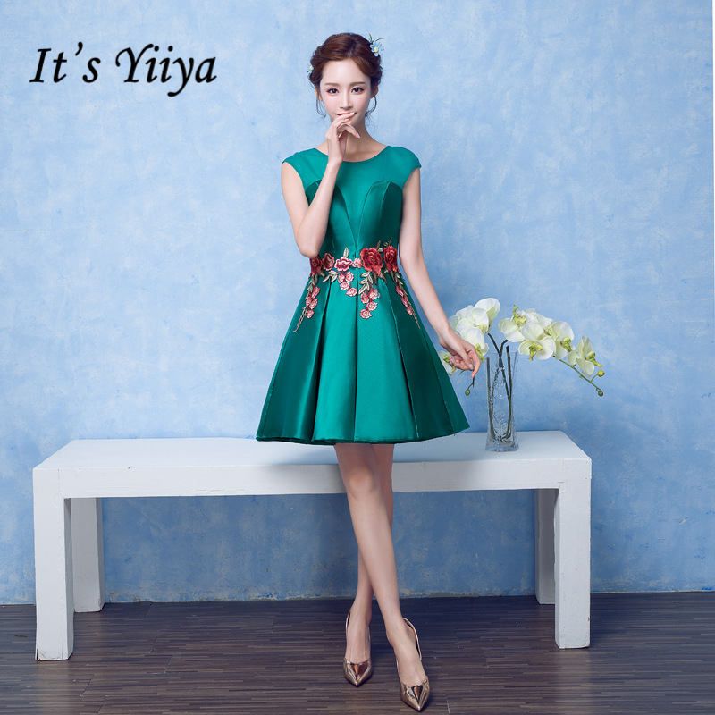 It's YiiYa Sales Green Sleeveless Cocktail Dresses Elegant Flower Pattern Embroidery Sexy Backless Satin Cocktail Gown X060