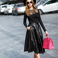 Hot High Quality PU knee Length Midi High Waist Black A-Line Vintage 7XL Plus Size Summer Style Ladies Office Skirt With Pockets