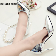 Hot 2018 Spring Autumn Women Pumps Sexy Gold Silver High Heels Shoes Fashion Pointed Toe Wedding Shoes Party Women Shoes 9cm(China)