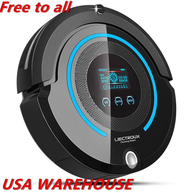 (USA warehouse)LIECTROUX A338 home pet cat Robot Vacuum Cleaner,UV,sweep,mop,remote,mainbrush,Schedule,VirtualBlocker,SelfCharge стабилизатор напряжения prorab dvr 500 f